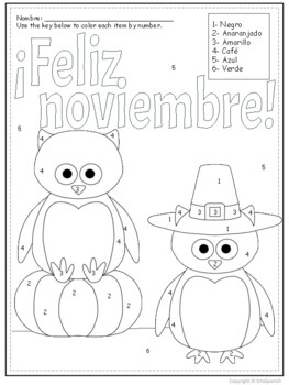 Spanish color by number Feliz Noviembre
