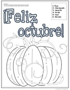 Spanish Color by Number Feliz Octubre