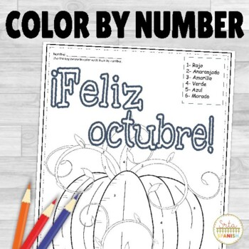Feliz Octubre- Spanish Color by Number