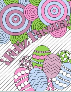 Feliz Pascua - Spanish Easter Adult Coloring Page BUNDLE
