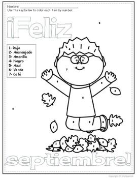 Feliz Septiembre- Spanish Color by Number