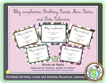 Feliz cumpleaños Birthday Card Pack and Perpetual Calendar Spanish Printable