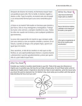 Feliz dia de las madres (Spanish Mother's Day) Reading Comprehension Activity