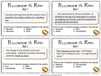 Fellowship of the Ring Figurative Language Task Cards