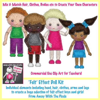 Felt Effect Doll Clip Art Kit - Create Your Own Clipart Characters!