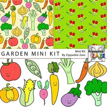 Felt Garden Mini Kit - Digital Paper and Clipart / Fruit /