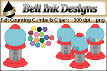 Felt Gumball Counting Clipart