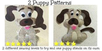 Felt Hand Sewing Pattern- 2 Puppy Dog Patterns