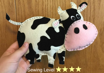 Cow Felt Hand Sewing Pattern