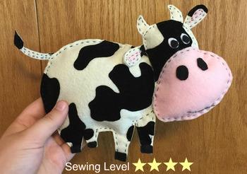 Cow Felt Hand Sewing Pattern