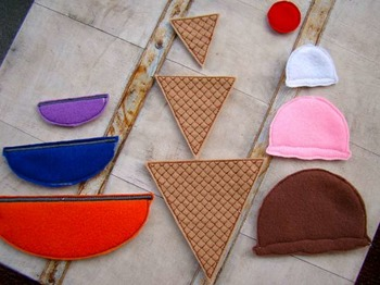Felt Ice Cream Companion Manipulatives to Lang Prog Monitoring Tool-Lower Level