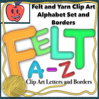 Felt Letters Clip Art Set A to Z  Yarn Borders  Commercial and Personal Use