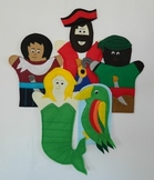 Felt Pirates, Parrots and a Mermaid Hand Puppets for Puppet Theatre Plays