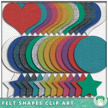 Felt Texture Clip Art Shapes