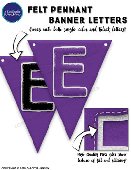 Felt Style Pennant Banner Letters in School Color - Purple
