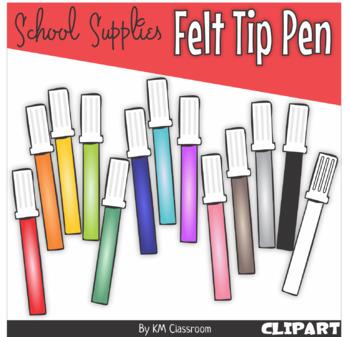 Felt Tip Pen in Vivid Colors - Clip Art