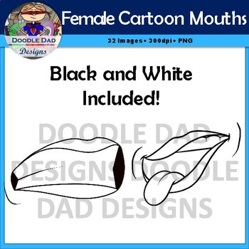Female Cartoon Mouths Clip Art (Emotions, Happy, Angry, Laughing)