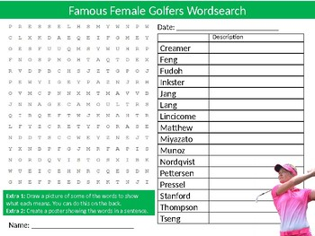 Female Golfers Wordsearch Sheet Starter Activity Keywords Cover Sport Golf