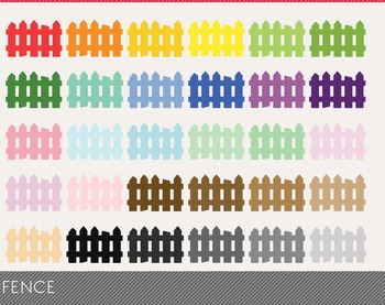 Fence Digital Clipart, Fence Graphics, Fence PNG, Rainbow