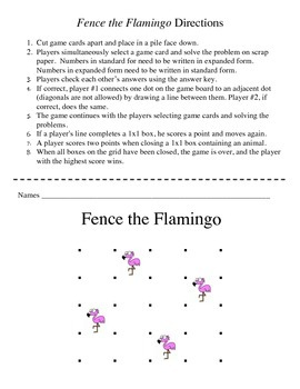 Fence the Flamingo - A 2-Player Game to Practice Expanded Notation