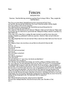 Fences Anticipation Guide