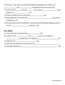 fences study guide questions guided reading notes by lesson assist rh teacherspayteachers com Reading Quotes Reading for 2nd Graders