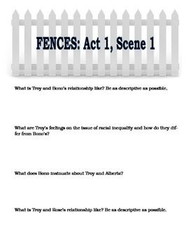 Fences by August Wilson - Comprehension and Discussion Guide