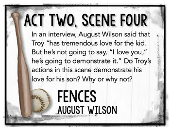 Fences by August Wilson Task Cards: Activities, Quizzes, Discussion Questions