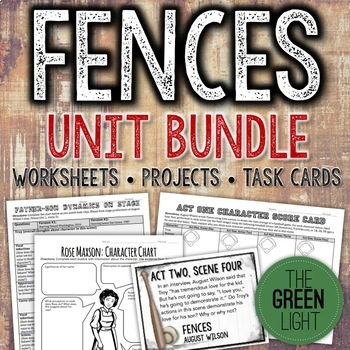 Fences by August Wilson Unit Plan Bundle: Worksheets, Task