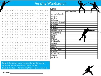 Fencing Wordsearch Sheet Starter Activity Keywords PE Sports