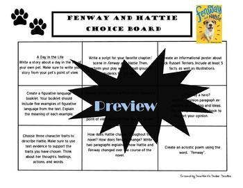 Fenway and Hattie Choice Board Novel Study Activities Menu Book Project Rubric