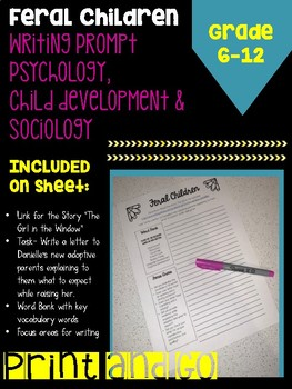 Feral Child Writing Prompt (Psychology; Sociology)