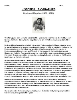 Ferdinand Magellan  Biography Article and (3) Assignments