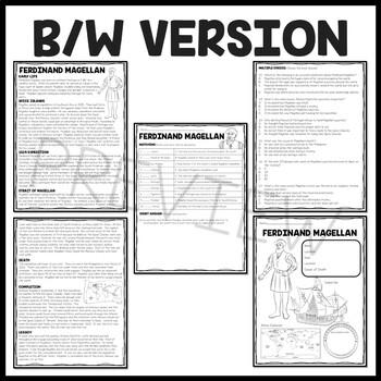 Ferdinand Magellan Biography Reading Comprehension Worksheet, Exploration