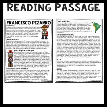 Francisco Pizarro Biography Reading Comprehension Worksheet, Exploration, Inca