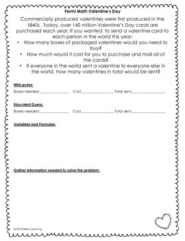 Creative and Challenging Problem Solving -Fermi Math FREEBIE- Valentine's Day-