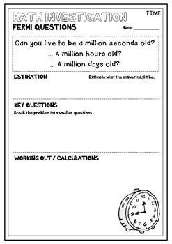Fermi Questions - Math Investigations & Projects for Real World Problem Solving