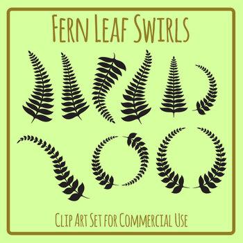Fern Leaf Swirls, Seals, and Page Decorations Clip Art Set