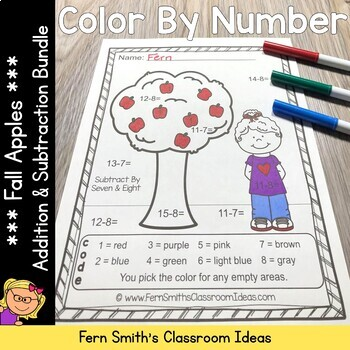 Color By Numbers Apples Addition and Subtraction