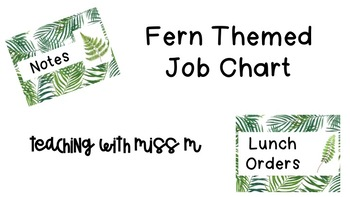 Fern Themed Editable Job Chart #ausbts18