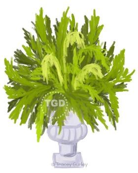 Fern in Urn Planter - fern clip art, Printable Tracey Gurl