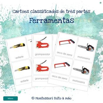 Ferramentas (chaves) - Montessori 3 part cards in Portuguese