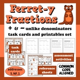 Ferret-y Fractions - add/subtract unlike denominators task cards + printables