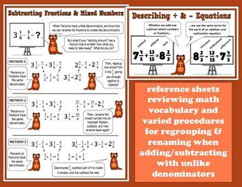 Ferret-y Fractions - add/subtract unlike denominators task cards + printables
