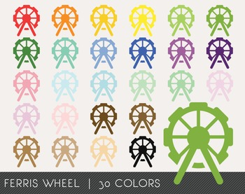 Ferris Wheel Digital Clipart, Ferris Wheel Graphics, Ferris Wheel PNG
