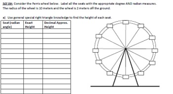 ferris wheel investigation discovering sine and cosine graphs tpt. Black Bedroom Furniture Sets. Home Design Ideas