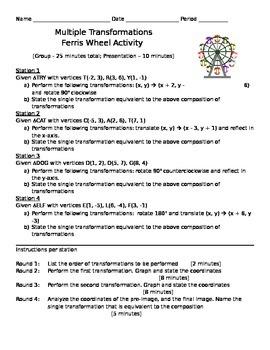 Ferris Wheel Transformations Activities
