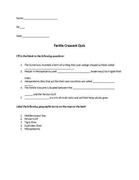 Fertile Crescent/Early Humans Quiz
