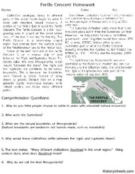 Fertile Crescent and Mesopotamia Reading Comprehension Ancient Civilizations