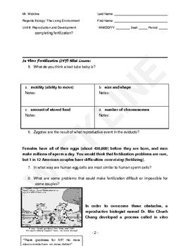 Fertilization and In Vitro Fertilization